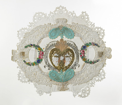 Multi-layered handfinished valentine's card: 19th century