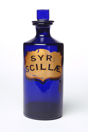 Blue glass pharmacy bottle: c.1880