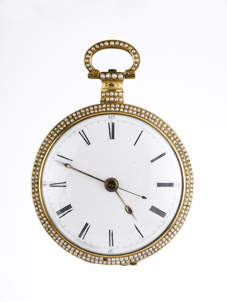 Gold and enamel cased duplex watch: 19th century