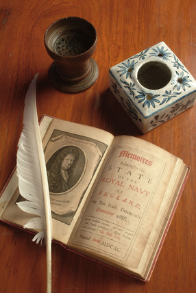 Writing tools and Pepys' Memoires relating to the state of the Royal Navy of England, for ten years, determin'd December 1688