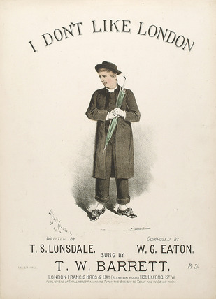 Song sheet for: 'I don't like London': 19th Century