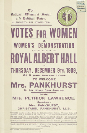 Handbill notice for a women's demonstration: 1909