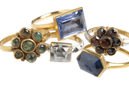 Selection of Cheapside Hoard rings: 16-17th century