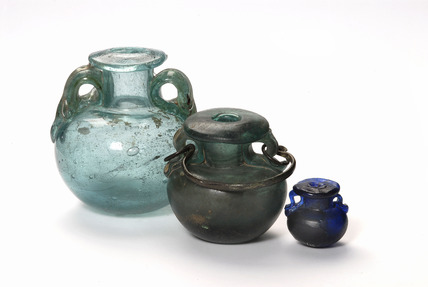 Selection of Roman bath flasks or aryballos