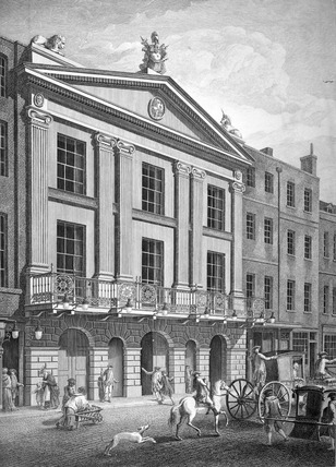 View of the New Front towards Bridges Street of the Principal Entry to the Theatre Royal Drury Lane: 18th century
