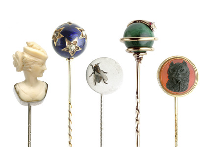 Selection of tie pins: 19th century
