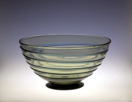 Whitefriars large bowl in sea green glass: 20th century