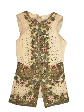 Cream colored silk waistcoat: 18th century