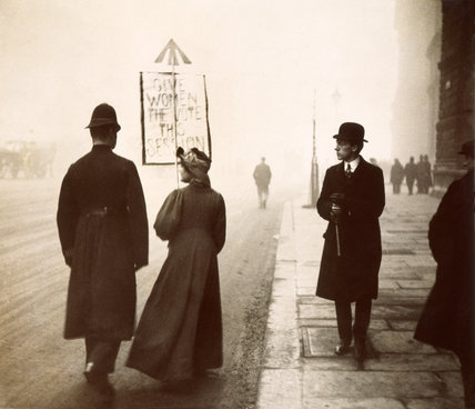 A suffragette taking part in a demonstration in Whitehall: 1912