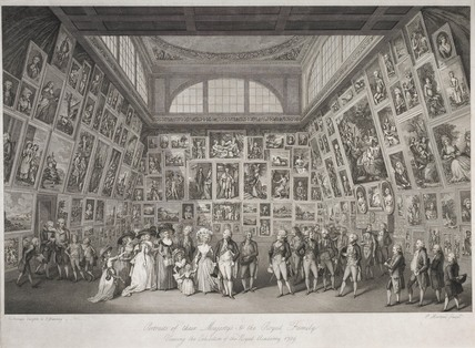 Portraits of their Majesty's and the Royal Family viewing the exhibition of the Royal Academy 1789