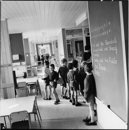 The open-plan interior of Eveline Lowe Primary School: 1966