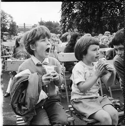 Children watching a magic show: 1965