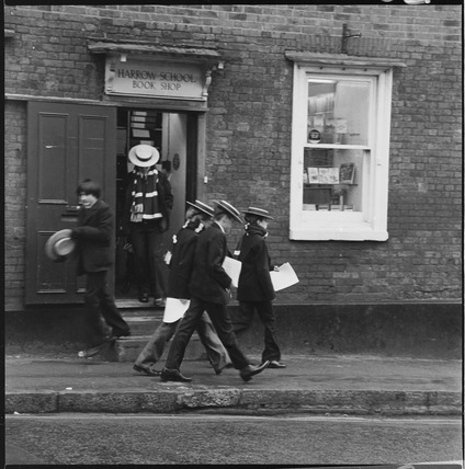 Schoolboys outisde the Harrow School Book Shop: 1980