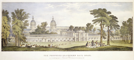 The proposed Gravesend Rail Road as it would appear in Greenwich Park from the Observatory Hill: 1835