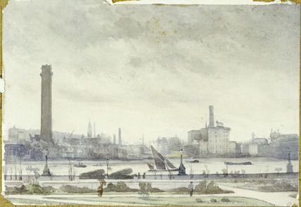 View of the Thames embankment: 19th century