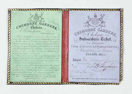 Admission ticket to the Cremorne Gardens: 1854