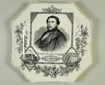 Commemorative plate featuring Reverend C. H. Spurgeon: 19th century