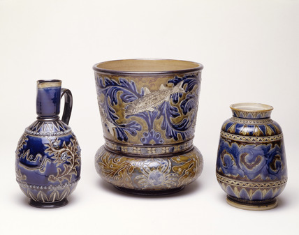 Selection of three blue glaze Doulton stoneware jugs: 19th century