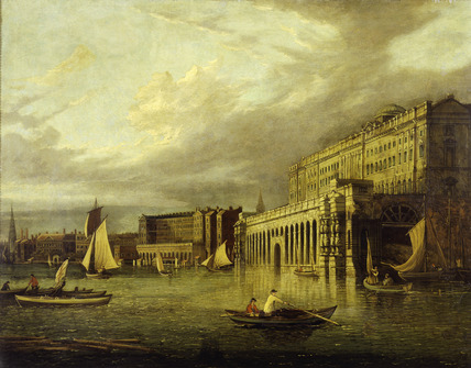 Somerset House and the Adelphi from the River: 19th century