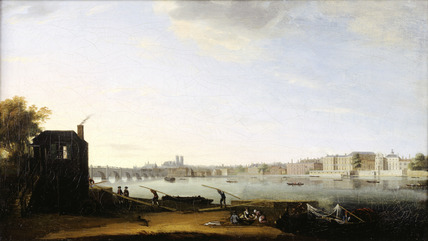 Westminster Bridge and Whitehall from the Lambeth Shore: 1775