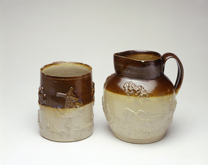Stoneware jug and cup: 19th century