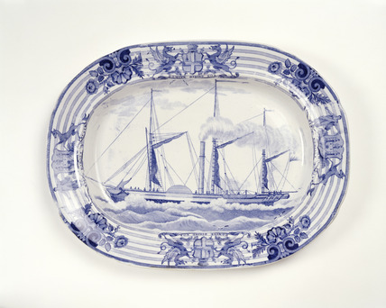 Oval earthenware plate: 19th century