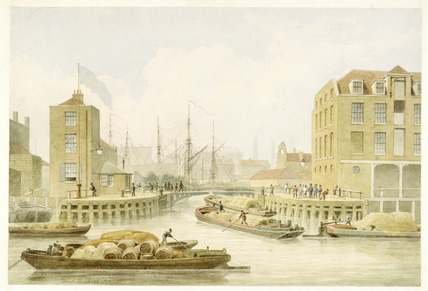 Entrance to Regent's Canal, Limehouse: 1828