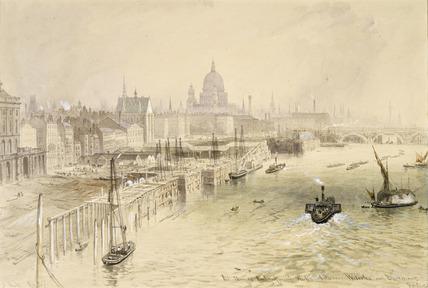 The Thames Embankment Works between Waterloo and Blackfriars Bridges
