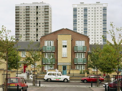 New terraced housing and two old tower blocks, Holly Street Estate: 1998