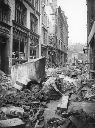 Bomb Damage at numbers 39-41 Little Britain: 1944