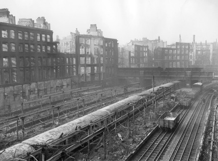 Bomb damage at Moorgate Underground Station: 1940