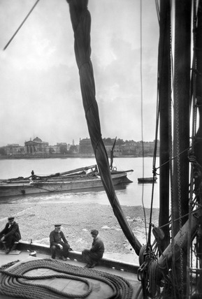 Looking across the River Thames towards Millbank: 20th century