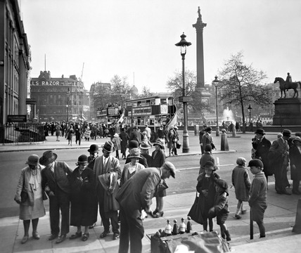 View of Nelson's Column and East side of Trafalgar Square: 20th century