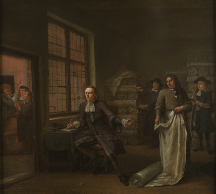 The interior of a cloth merchants: 1690