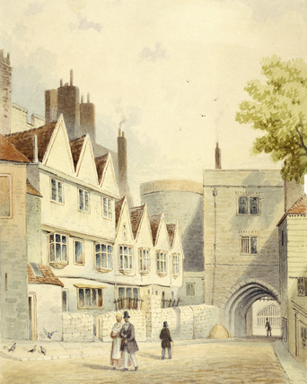 Exterior of the houses adjoining the Bloody Tower: 19th century