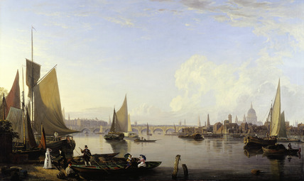 Waterloo Bridge and the Lambeth Waterfront from Westminster Stairs: 1821