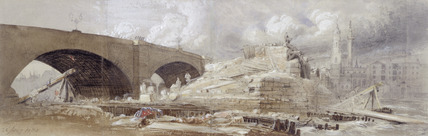 Demolition work at the South end of London Bridge: 1832