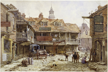 The cobbled courtyard outside Old Tabard Inn: 1870