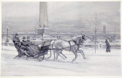 The Prince of Wales sleighing on the Thames Embankment: 1881