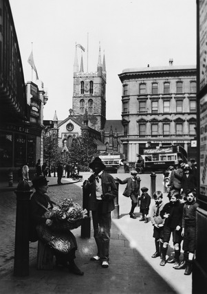 Southwark Cathedral from Borough High Street: 20th century