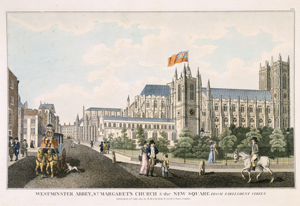 Westminster Abbey, St. Margaret's Church and the New Square from Parliament Street: 1822