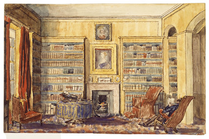 An interior view of a library: 19th century