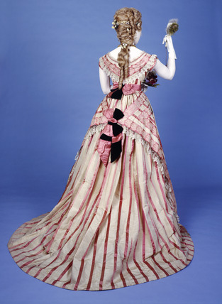 Bustle dress, back view: 19th century