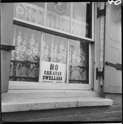 A discriminating window sign targets the Travelling community: 1953