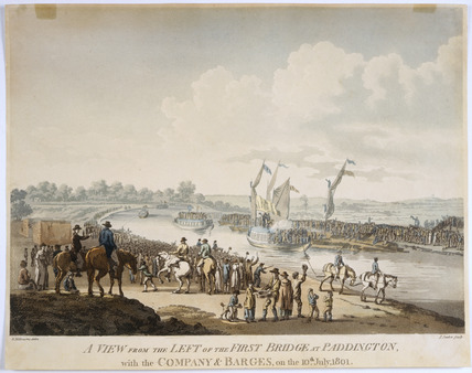 A view from the left of the first bridge at Paddington: 1801
