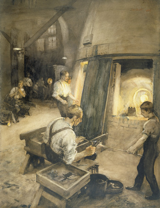 Glass Blower at work at the Whitefriars Glass Works: 1906