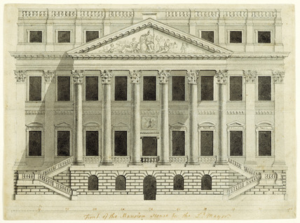 The front facade of the Mansion House: 18th century