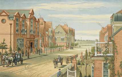 The School of Art, Stores and Tabard Inn, looking west: 1882