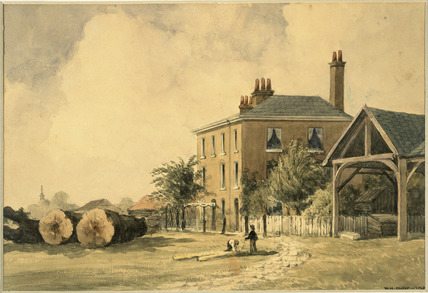 View of John Barnard's Timber Yard, Lambeth.1849