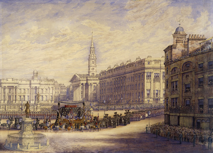 View of the Duke of Wellington's funeral procession in Trafalgar Square: 1852